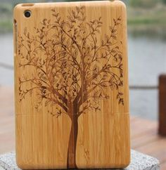 Hand-Carved wood pattern case for iPad mini