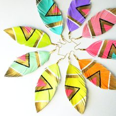 Neon Aztec - Assorted Pastel Candy Colors - YOU Pick Color- Handpainted Faux Leather Feather Earrings - - Free Shipping