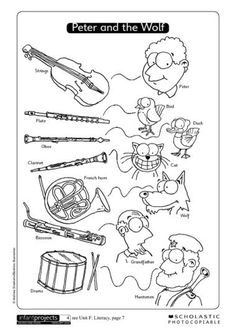 Musical instruments linked to characters in Peter and the Wolf. Elementary Music Lessons, Music Lessons For Kids, Music Lesson Plans, Music For Kids, Elementary Schools, Music Activities, Music Games, Music Music, Music Worksheets
