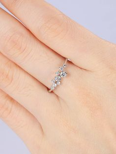 Cluster diamond ring Unique engagement ring Women Wedding Bridal set Jewelry Promise Christmas Anniversary gift for her Solid 14k white gold by RingOnly on Etsy https://www.etsy.com/listing/573582479/cluster-diamond-ring-unique-engagement #UniqueEngagementRings #clusterring #weddingring