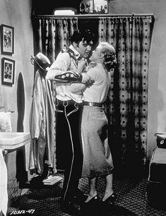 """Elvis Presley and Jana Lund in """"Loving You,"""" Paramount, 1957."""