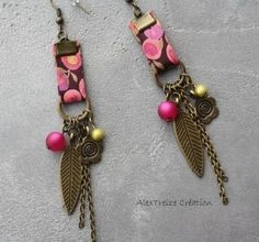 Boucles d'oreilles créateur bronze, Fuchsia en Liberty  : Boucles d'oreille par alextreize-creation sur ALittleMarket