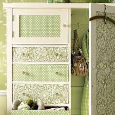 Revamped Armoires for Small-Space Storage  Out of Sight: If your front door opens into a living space, consider an armoire like this one as a substitute for a closet. The pretty exterior fits in with the rest of the living room's furnishings, while the large door conceals hooks for coats and bags and space for shoes on the bottom. The drawers are perfect for stashing your living room extras or front door necessities such as mittens, hats, and umbrellas.