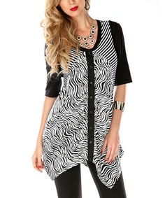 Take a look at this Black & White Zebra Sidetail Top by Lily on #zulily today!