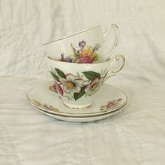 CHINA TEACUPS  and saucers set of two floral teacups bone china made in England by GlyndasVintageshop on Etsy