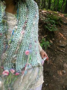 RESERVED - handknit artyarn wrap prayer shawl scarf from the enchanted forest - forest fairytale Prayer Shawl Crochet Pattern, Prayer Shawl Patterns, Crochet Prayer Shawls, Crochet Shawl Free, Quick Crochet, Knit Crochet, Butterfly Stitches, Estilo Hippy, Crafts