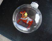 Hand painted glass christmas ornament,Scandinavian style