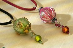 Beaded Pendant~Round Beaded Pendant with faux-suede thong~PD195-Fair trade by Namaste