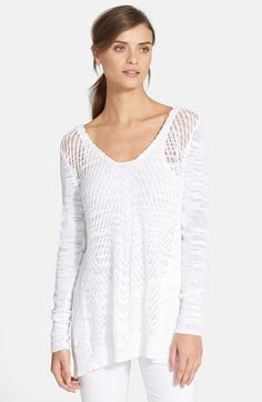 Rebecca+Taylor+Open+Knit+V-Neck+Pullover+available+at+#Nordstrom