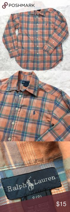 Ralph Lauren Plaid Oxford Button Down Boys size medium 8 - Peach color and in excellent condition! Ralph Lauren Shirts & Tops Button Down Shirts