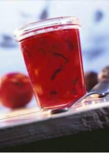Confiture de prunes et nectarines Jus D'orange, Larder, Canning Recipes, Preserves, Shot Glass, Goodies, Veggies, Homemade, Cooking