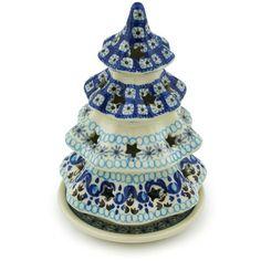 Polish Pottery 7-inch Christmas Tree Candle Holder | Boleslawiec Stoneware | Polmedia H1888H | Polmedia