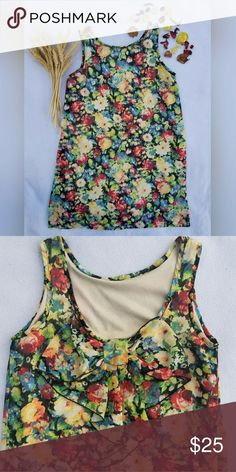 Floral mini dress Imported from the Philippines, this high collar, chiffon, mini dress covered in vibrant flowers is perfect for all occasions! Beautiful low cut back with bow detail that adds a unique touch. PRICE IS NEGOTIABLE hug Dresses Mini