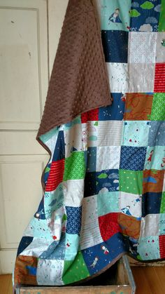 """Little Adventurer Minky Patchwork Blanket, using """"greatest adventure"""" collection by cinderberry stitches for Riley Blake by laruedefleurs on Etsy"""