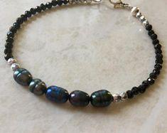 Peacock pearl bracelet, czech bead bracelet, minimalist, black spinel bracelet
