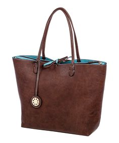 Brown & Turquoise Reversible Tote