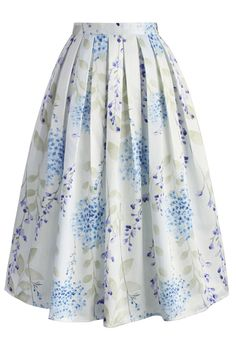Tranquil Watercolor Floral Midi Skirt - New Arrivals - Retro, Indie and Unique Fashion