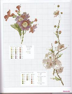 Cross stitch - flowers: Primrose (free pattern - chart)