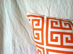 Popular Greek Key design in orange and white...Greek Key Pillow Covers  Set of Two 20 x 20 Orange by mizzeztee, $36.00