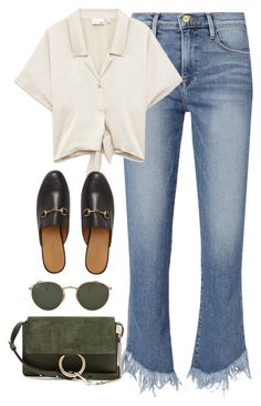 """Untitled #4284"" by magsmccray ❤ liked on Polyvore featuring Frame, Gucci, Ray-Ban and Chloé"
