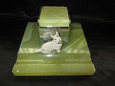 VINTAGE-ART-DECO-GREEN-MARBLE-ONYX-COLD-PAINTED-SCOTTIE-TERRIER-DOG-INKWELL