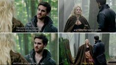 """""""Sadly, Red leather jackets don't come into vogue here.... ever."""" - Hook and Emma, #CaptainSwan, """"Snow Drift"""" 3*21"""