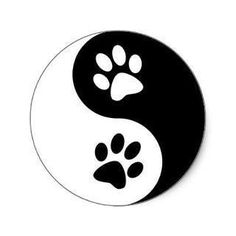 Yin Yang Dog Paws Classic Round Sticker Zazzle Com - Yin Yang Dog Paws Classic Round Sticker Find The Animal Balance Between Positive And Negative With This Black And White Silhouette Dog Paw Print Yin Yang Sign Perfect Dog Lover Gift Idea For The Dog Yen Yang, Ying Y Yang, Yin And Yang, Yin Yang Art, Yin Yang Tattoos, Dog Tattoos, Cat Tattoo, Cat Paw Print Tattoo, Cat Mandala