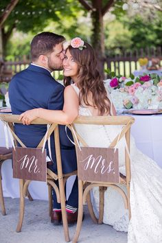 Sweetheart chairs for bride and groom