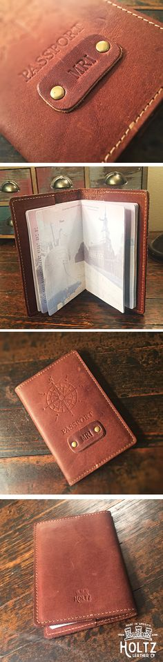 The handmade Expedition Personalized Leather Passport Cover Holder made right here in our shop with the finest of Full Grain American leathers. We hand pick our leather hides from a local tannery ~ for a rustic look and feel. This is a gift that will be used and loved for a lifetime! Perfect for the jet-setter in your life!