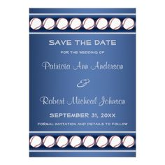 Baseball Ball Player Fan Blue Grey Save The Date Invitations
