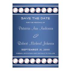Baseball Ball Player Fan Blue Grey Save The Date Invitations