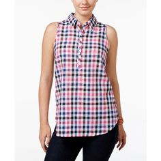 G.h. Bass & Co. Plaid Linen Shirt ($47) ❤ liked on Polyvore featuring tops and pink punch combo