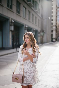Blush & Lace - BCBG Dress and Lanvin Bag