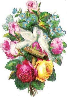 Oblaten Glanzbild scrap die cut chromo Taube dove pigeon Paar  Rose klappbar