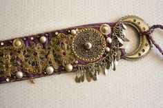 KHLORIS - Purple 'n' Antique Gold Flowers Tribal Fusion Belt - Spring fairy queen Tribal Fusion Bellydance Costume Belt, Antique trim belt
