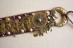 KHLORIS - Purple 'n' Antique Gold Flowers Tribal Fusion Belt - Spring fairy queen Tribal Fusion Bellydance Costume Belt, Antique trim belt