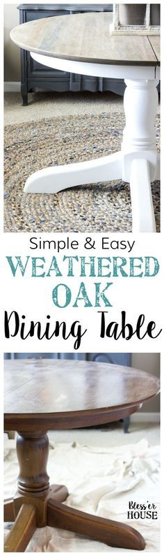 Weathered Oak Dining Table Makeover A thrifted banged up dining table gets a simple weathered oak finish for a highend designer look This tutorial is so easy Refurbished Furniture, Repurposed Furniture, Table Furniture, Furniture Makeover, Painted Furniture, Distressed Furniture, Furniture Ideas, Refinished Table, Chair Makeover