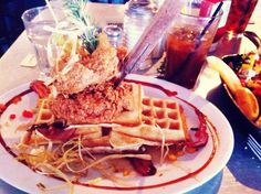 Hash House a Go Go - amazing weekend brunch with BLT bloody Mary, giant pancakes & bacon waffles tower!