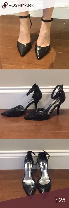 White House black market ankle strap pumps Only worn twice! These are great work shoes because the heel isn't too high and they're very comfortable. Black snake print fabric and classy ankle strap. Heel is 3.5 inches. White House Black Market Shoes Heels