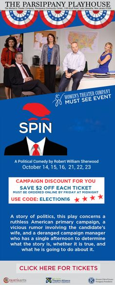 New Jersey Footlights: Political Comedy 'Spin' Now at Women's Theater Com...