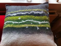 Wetfelted Merino wool and silk pillow   Specially made for Charlotte