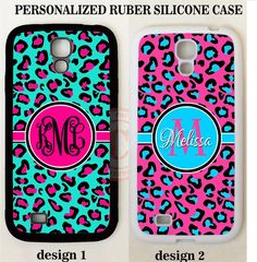 TEAL HOT PINK BLUE LEOPARD MONOGRAM PHONE Case For Samsung Galaxy S8 S7 S6 NOTE #UnbrandedGeneric