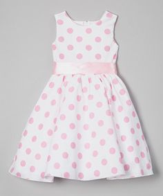 Love this Light Pink Polka Dot A-Line Dress - Infant, Toddler & Girls by Kid Fashion on #zulily! #zulilyfinds