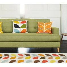 orla kiely cushions and rug Bed In Living Room, Home And Living, Living Spaces, Orla Kiely Cushions, Muuto, Inside Home, Mid Century House, Mid Century Modern Design, Inspired Homes