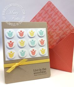 Stamp a single image in multiple colors and punch out multiples for a simply stunning card.