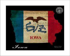 IOWA Map Map of Iowa Des Moines Cedar Rapids by WaterColorMaps2, $25.00