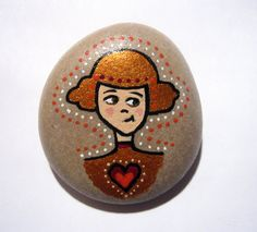 Hand painted girl stone/paperweight via Etsy