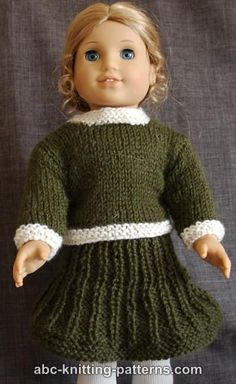 ABC Knitting Patterns - American Girl Doll Classic Suit (Sweater and Skirt)