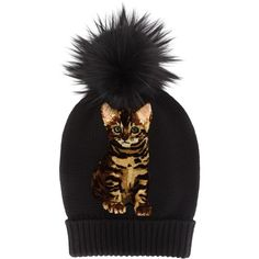 Dolce and Gabbana Cat Pom Pom Beanie ($430) ❤ liked on Polyvore featuring accessories, hats, beanies, kirna zabete, outerwear, sale, brown hat, pompom hat, cat beanie hat and patch hat