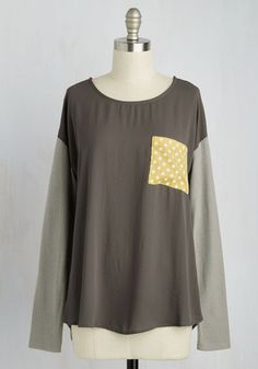 Progressive Dinner Delight Top - Mid-length, Jersey, Knit, Woven, Grey, Yellow, Polka Dots, Casual, Long Sleeve